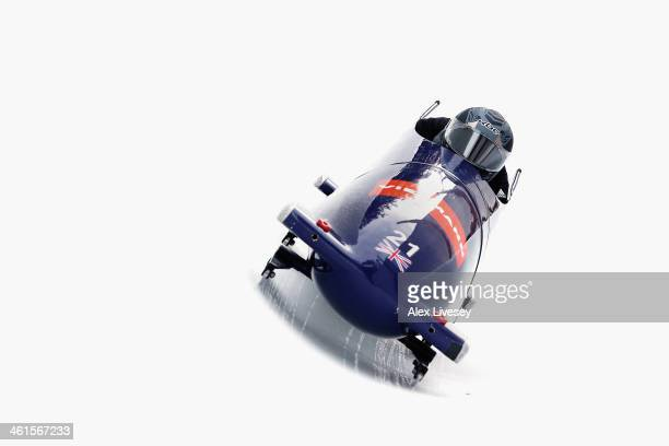 John Jackson and Bruce Tasker of Great Britain during a training run for the Men's Bobsleigh event at the Viessmann FIBT Bob Skeleton World Cup at...