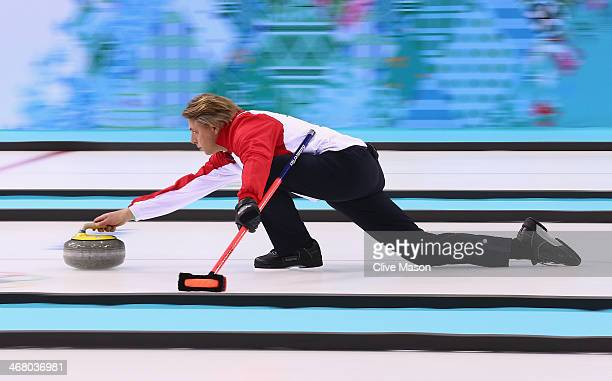 John Jahr of Germany in action during curling training on day 2 of the Sochi 2014 Winter Olympics at the Ice Cube Curling Centre on February 9, 2014...