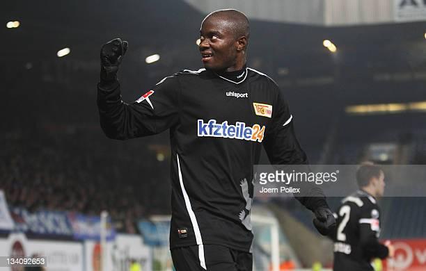 John Jairo Mosquera of Berlin celebrates after scoring his team's fourth goal during the Second Bundesliga match between FC Hansa Rostock and Union...