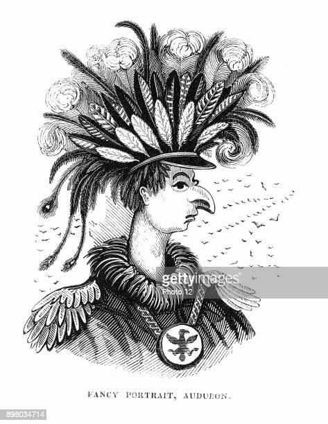 John James Audubon American ornithologist and artist Cartoon from Thomas Hood 'The Comic Annual' London during the time that Audubon's 'The Birds of...