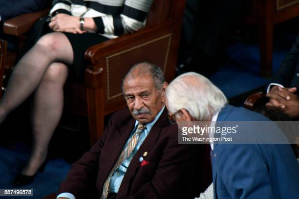 John James Conyers Jr listens to President Donald J Trumps first address before a joint session of Congress on Tuesday Feb 28 at the US Capitol in...