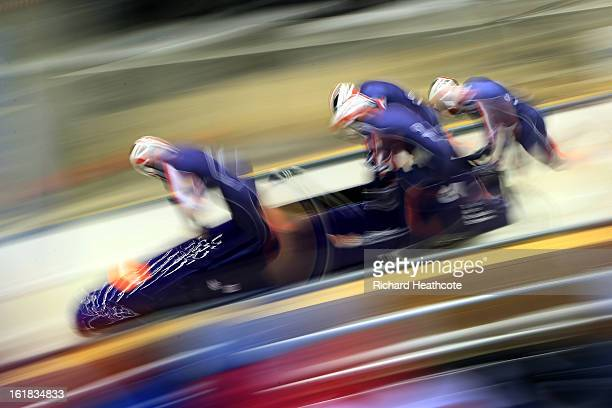 John James Jackson of Great Britian launches his sled down the track during the 4 man Bobsleigh Viessman FIBT Bob Skeleton World Cup at the Sanki...