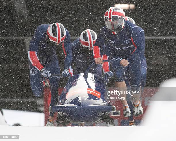 John James Jackson Stuart Benson Bruce Tasker and Joel Fearon of Great Britain 1 compete in the fourman bobsleigh on day 2 of the IBSF 2012 Bobsleigh...