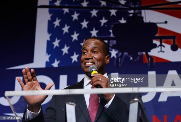 John James Michigan GOP Senate candidate speaks at an election night event after winning his primary election at his business James Group...