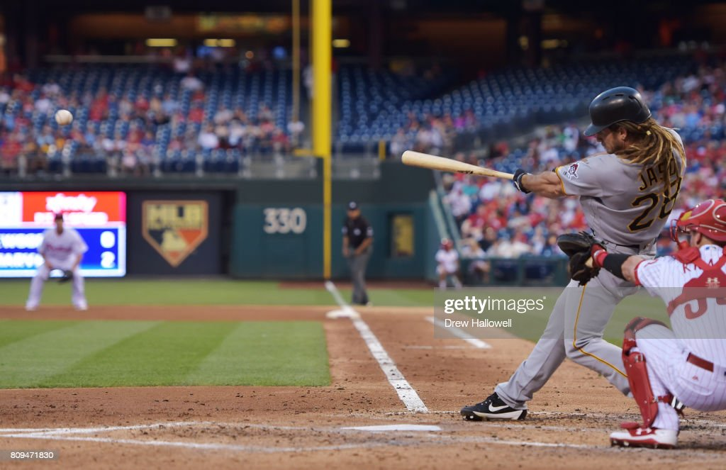 John Jaso #28 of the Pittsburgh Pirates hits a single in the fourth inning against the Philadelphia Phillies at Citizens Bank Park on July 5, 2017 in Philadelphia, Pennsylvania.