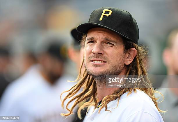 John Jaso of the Pittsburgh Pirates looks on during the game against the Seattle Mariners during interleague play on July 27 2016 at PNC Park in...