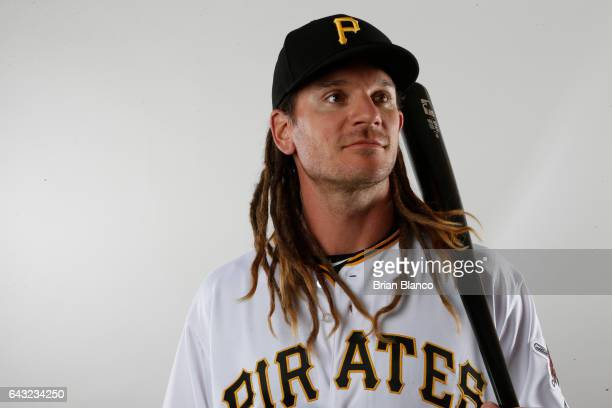 John Jaso of the Pittsburgh Pirates poses for a photograph during MLB spring training photo day on February 19 2017 at Pirate City in Bradenton...