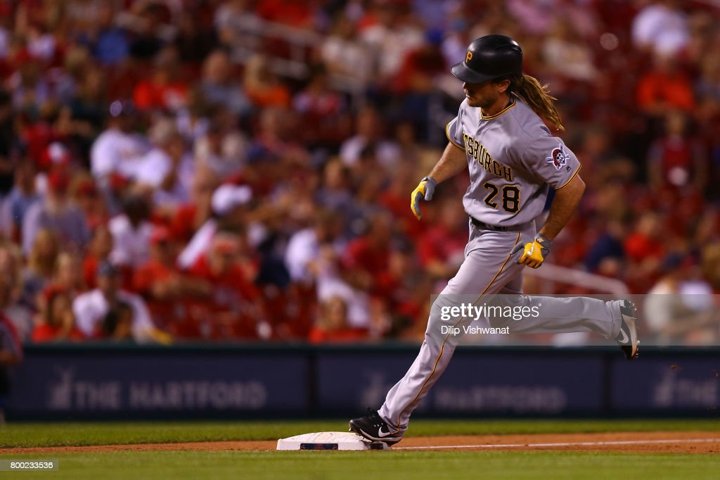 John Jaso #28 of the Pittsburgh Pirates rounds third base after hitting a game-winning solo home run against the St. Louis Cardinals in the ninth inning at Busch Stadium on June 23, 2017 in St. Louis, Missouri.