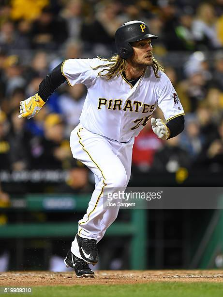 John Jaso of the Pittsburgh Pirates runs to first base against the St Louis Cardinals on April 6 2016 at PNC Park in Pittsburgh Pennsylvania