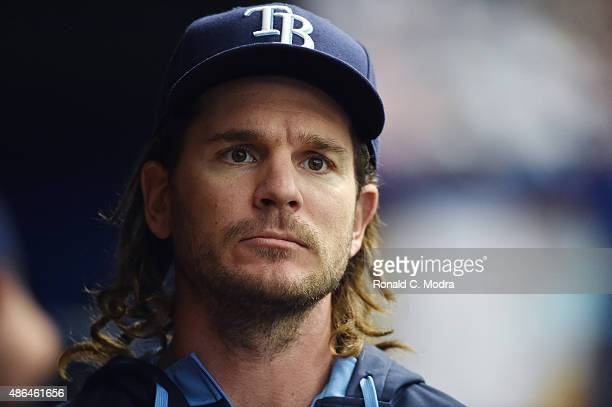 John Jaso of the Tampa Bay Rays looks on during a MLB game against the Kansas City Royals on August 30 2015 at Tropicana Field in St Petersburg...