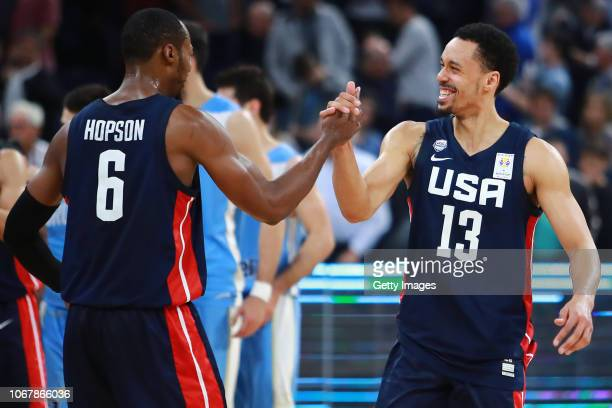 John Jenkins and Scotty Hopson of USA celebrate after winning a match between Uruguay and USA as part of Group E of FIBA Americas Qualifiers for...