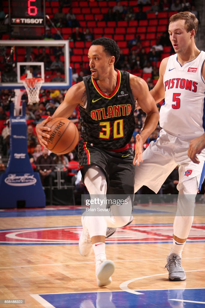 John Jenkins #30 of the Atlanta Hawks handles the ball against the Detroit Pistons on October 6, 2017 at Little Caesars Arena in Detroit, Michigan.