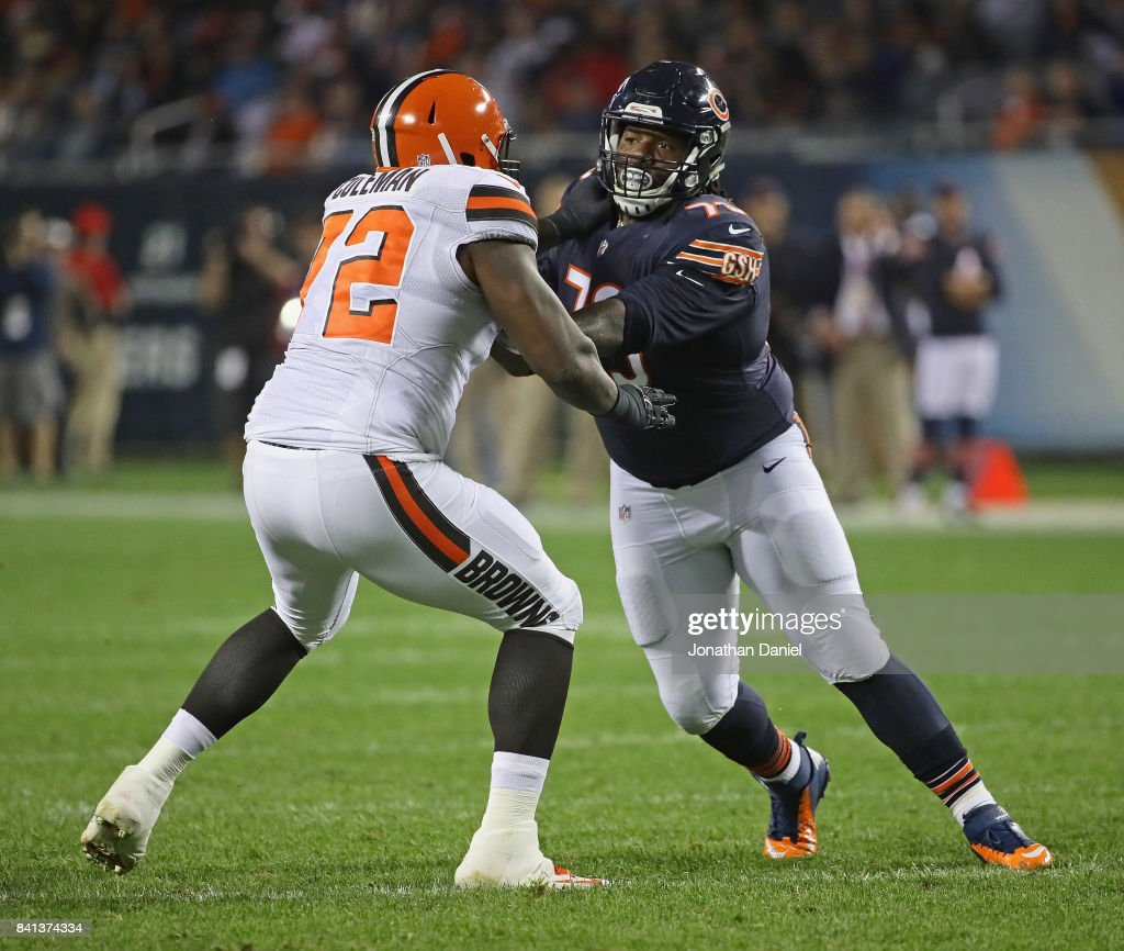 John Jenkins #73 of the Chicago Bears rushes against Shon Coleman #72 of the Cleveland Browns during a preseason game at Soldier Field on August 31, 2017 in Chicago, Illinois.