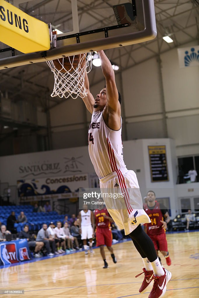 John Jenkins #14 of the Idaho Stampede dunks the ball against the Fort Wayne Mad Ants during the NBA D-League Showcase game on January 19, 2015 at Kaiser Permanente Arena in Santa Cruz, California.