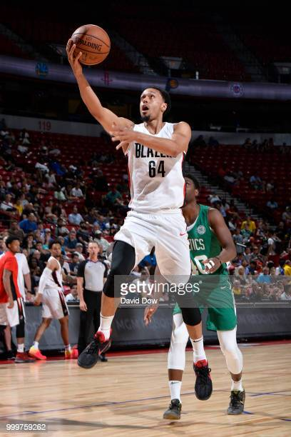 John Jenkins of the Portland Trail Blazers goes to the basket against the Boston Celtics during the 2018 Las Vegas Summer League on July 15 2018 at...