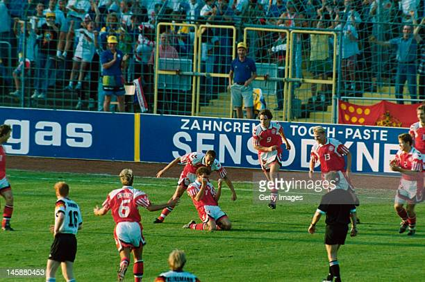 John Jensen of Denmark celebrates scoring the opening goal during the UEFA European Championships 1992 Final between Denmark and Germany held at the...