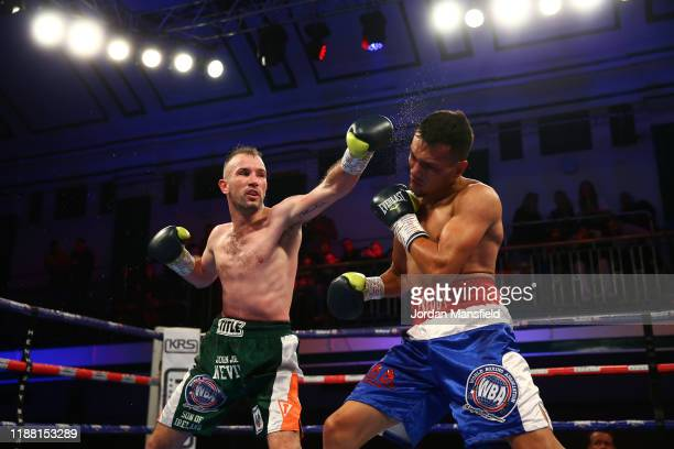 John Joe Nevin and Freddy Fonseca fight during their undercard bout at York Hall on November 16, 2019 in London, England.
