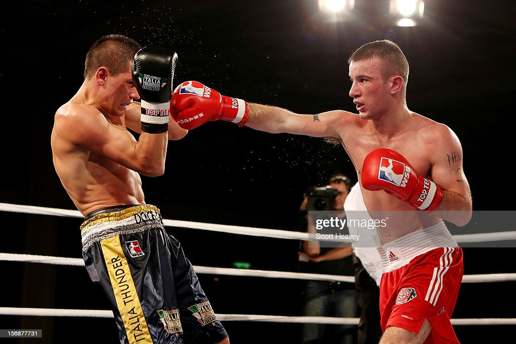 John Joe Nevin of British Lionhearts (R) in action with Branimir Stankowic of Italia Thunder during their 57-61kg bout in the World Series of Boxing between British Lionhearts and Italia Thunder on November 23, 2012 in Newport, Wales.