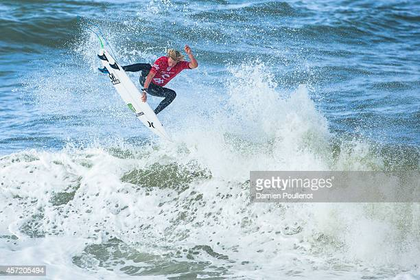 John John Florence of Hawaii surfs during heat 1 of Moche Rip Curl Pro on October 14 2014 in Peniche Portugal