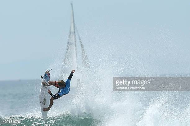 John John Florence of Hawaii surfs into round 3 of Quiksilver Pro on October 10 2015 in Hossegor France