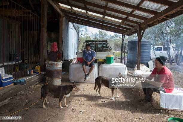 """John Johnson and Dan Anderson during """"Smoko"""" or tea break with is a tradition in Australian shearing sheds on July 6, 2018 in Moree, Australia. Penny..."""