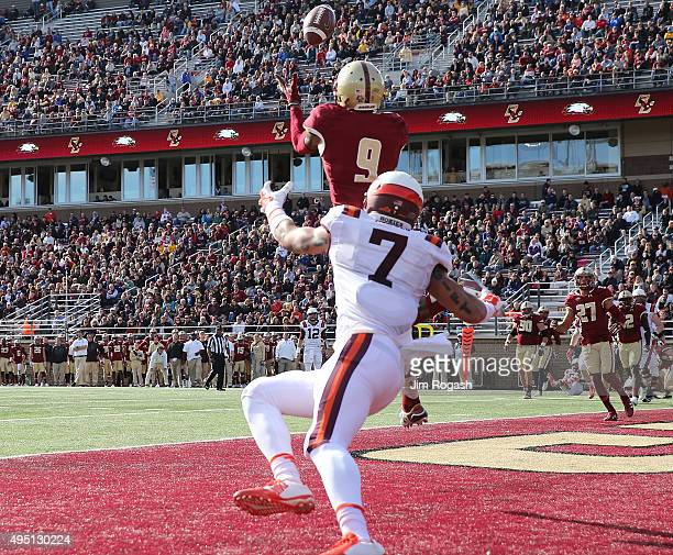 John Johnson of the Boston College Eagles intercepts a pass intended for Bucky Hodges of the Virginia Tech Hokies in the first half at Alumni Stadium...