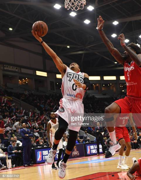 John Jordan of the Raptors 905 goes for the layup during Game Two of the DLeague Finals against the Rio Grande Valley Vipers at the Hershey Centre on...