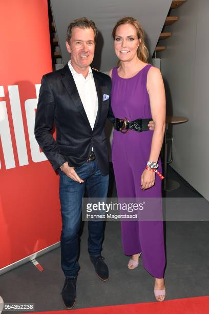 John Juergens and Julia Scharf attend the BILD Muenchen Newspaper 50th anniversary party at MTTC IPHITOS on May 3 2018 in Munich Germany