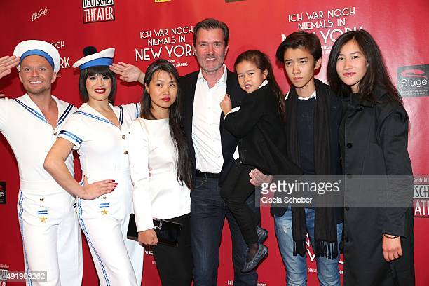 John Juergens son of Udo Juergens and his wife Hayah daughter Jasmin son Dennis and daughter Lilly during the Munich premiere of the musical 'Ich war...