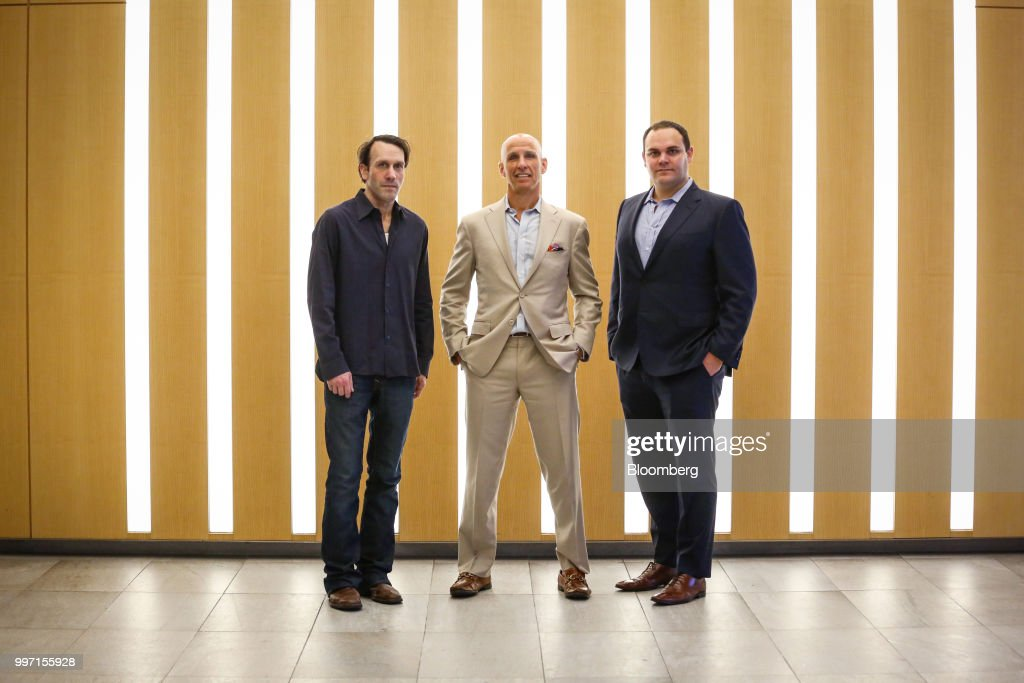 John Kaden, chief investment officer of Navy Capital LLC, from left, Kevin Gahwyler, president and chief financial officer of Navy Capital LLC, and Sean Stiefel, portfolio manager at Navy Capital LLC, stand for a photograph at the company's office in New York, U.S., on Tuesday, July 10, 2018. As Canada moves towardlegalizationof recreational marijuana on Oct. 17 and the U.S. shows signs of growingleniency, hedge funds such as Navy are leading the advance of institutional money into a sector that's so far been dominated by retail investors. Photographer: Christopher Goodney/Bloomberg via Getty Images