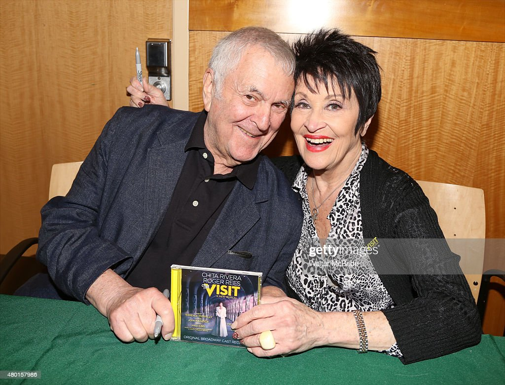 John Kander and Chita Rivera attend the Original Broadway cast recording of 'The Visit' signing at Barnes & Noble, 86th & Lexington on July 9, 2015 in New York City.
