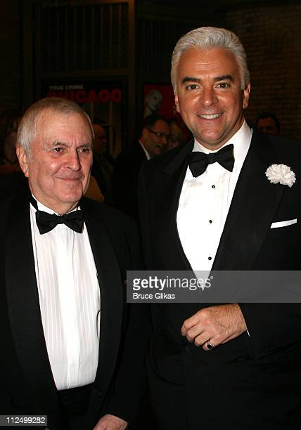 John Kander composer and John O'Hurley during Chicago 10th Anniversary on Broadway at The Ambassador Theater in New York NY United States