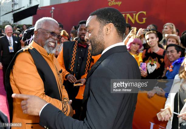 John Kani and Chiwetel Ejiofor attend the premiere of Disney's The Lion King at Dolby Theatre on July 09 2019 in Hollywood California