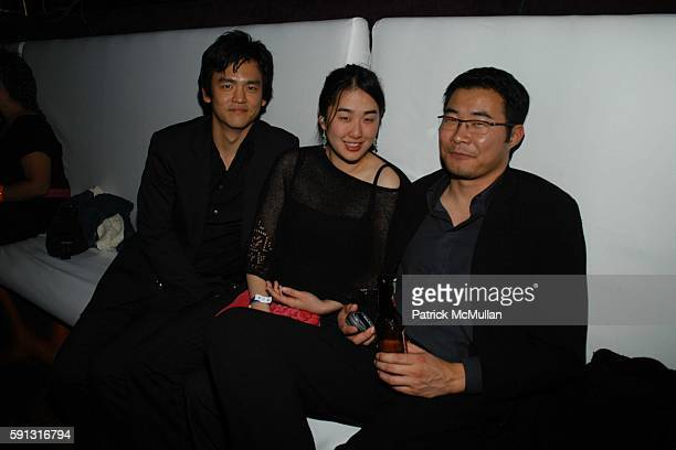 John Karen Naguchi and John West attend Billy Idol performs a set from his new album at the William Morris Agency Grammy Awards After Party at Avalon...