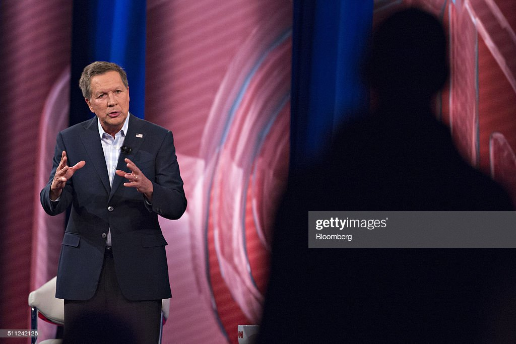 John Kasich, governor of Ohio and 2016 Republican presidential candidate, speaks during a town hall event hosted by CNN at the University of South Carolina in Columbia, South Carolina, U.S., on Wednesday, Feb. 17, 2016. Donald Trump remains the front-runner in South Carolina, where Republican voters head to the polls on Saturday. According to a survey released Monday by Democratic pollster Public Policy Polling, Trump holds a 17-point lead over Senators Marco Rubio and Ted Cruz, who are tied for second place. Photographer: Daniel Acker/Bloomberg via Getty Images