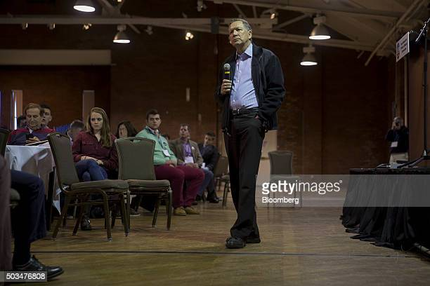 John Kasich governor of Ohio and 2016 Republican presidential candidate listens to a question while speaking at the New England College NH Primary...