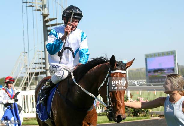 John Keating returns to the mounting yard on She's Beneficial after winning Hygain Winnerâs Choice BM58 Handicap at SportsbetBallarat Racecourse on...