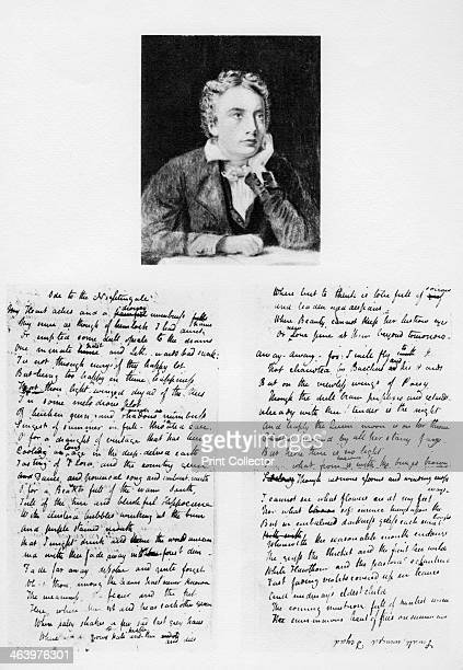 John Keats English poet and his Ode to a Nightingale 1819 The illustration shows the first five stanzas of the Ode the rest of which is written upon...