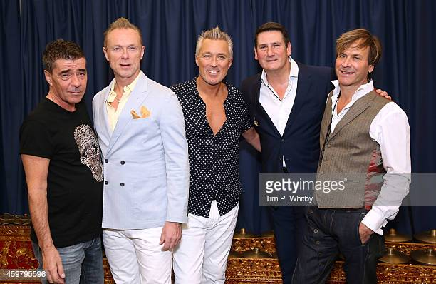 John Keeble Gary Kemp Martin Kemp Tony Hadley and Steve Norman of Spandau Ballet pose for a photo before performing as Magic present Spandau Ballet...