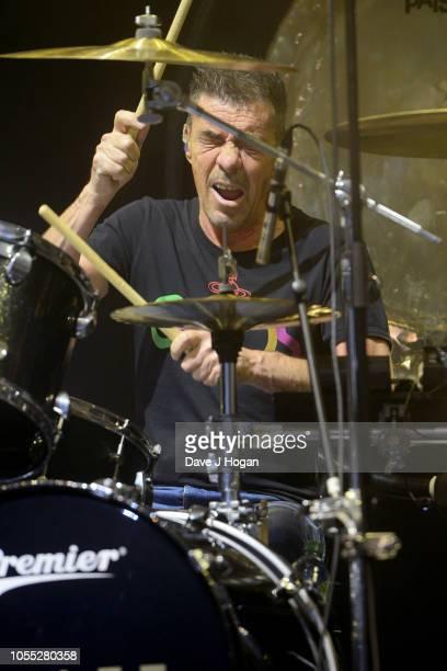 John Keeble of Spandau Ballet performs on stage at Eventim Apollo on October 29, 2018 in London, England.