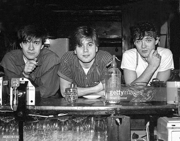LR John Keeble Steve Norman and Martin Kemp of Spandau Ballet photographed at the bar of the Kirkstone Pass Inn Lake District Cumbria during the...