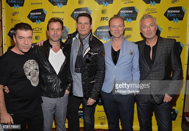John Keeble Steve Norman Tony Hadley Gary Kemp and Martin Kemp of Spandau Ballet pose for pictures during the screening of The Soul Boys of The...