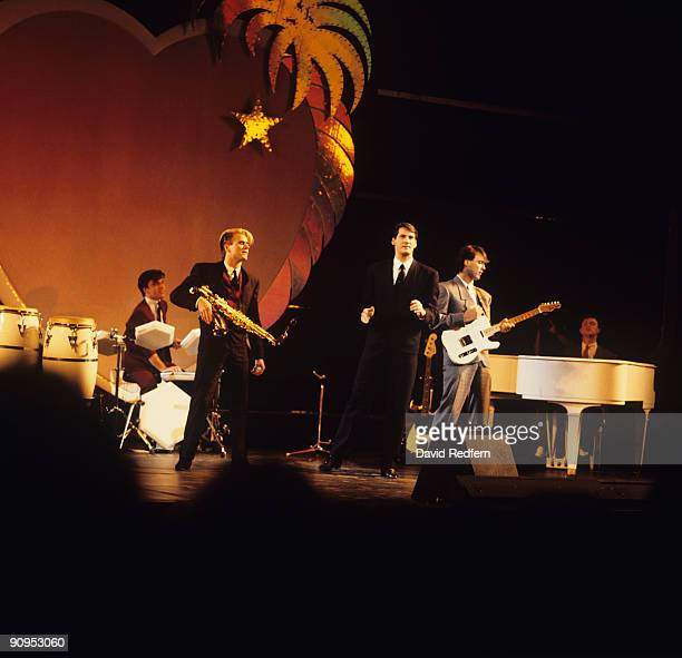 John Keeble Steve Norman Tony Hadley Martin Kemp and Gary Kemp of Spandau Ballet perform on stage at the Midem Music Fair held in Cannes France in...