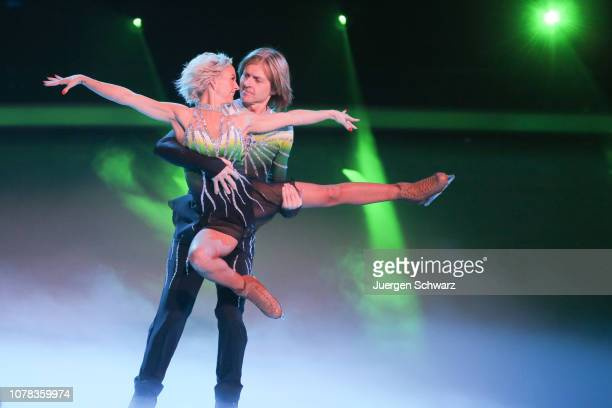 John Kelly and Annette Dytrt perform during the 1st live show of the new dance competition television series 'Dancing on Ice' at MMC Studios on...