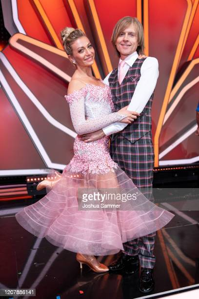 John Kelly and Regina Luca are seen on stage during the preshow Wer tanzt mit wem Die grosse Kennenlernshow of the television competition Let's Dance...
