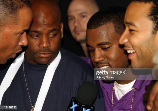 John Kelly, Dame Dash, Kanye West and John legend during Roc Box Presents Kanye West in Concert - October 8, 2005 at Hard Rock Cafe in New York City,...