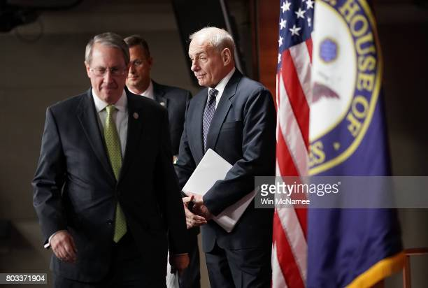 John Kelly Secretary of Homeland Security arrives at Paul Ryan's weekly press conference at the US Capitol June 29 2017 in Washington DC Kelly...
