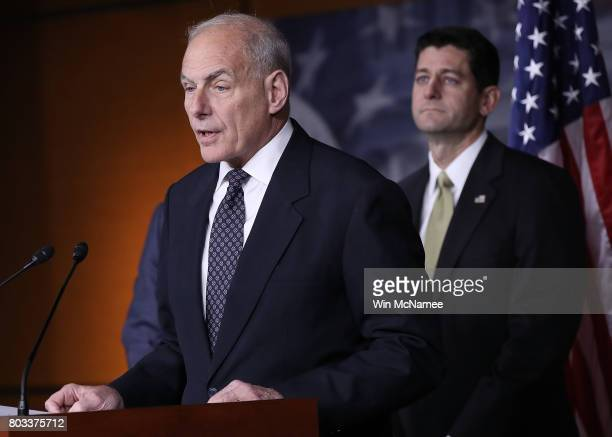 John Kelly Secretary of Homeland Security speaks at Speaker of the House Paul Ryan's weekly press conference at the US Capitol June 29 2017 in...