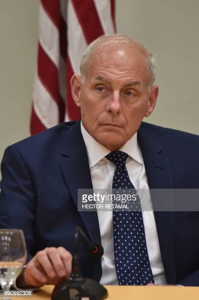 John Kelly United States Secretary of Homeland Security looks on during a meeting with Haitian President Jovenel Moise at the National Palace in...