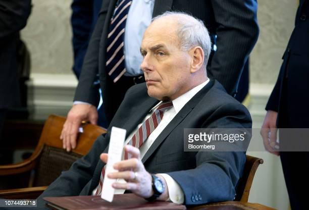 John Kelly White House chief of staff sits during a meeting with US President Donald Trump House Minority Leader Nancy Pelosi a Democrat from...